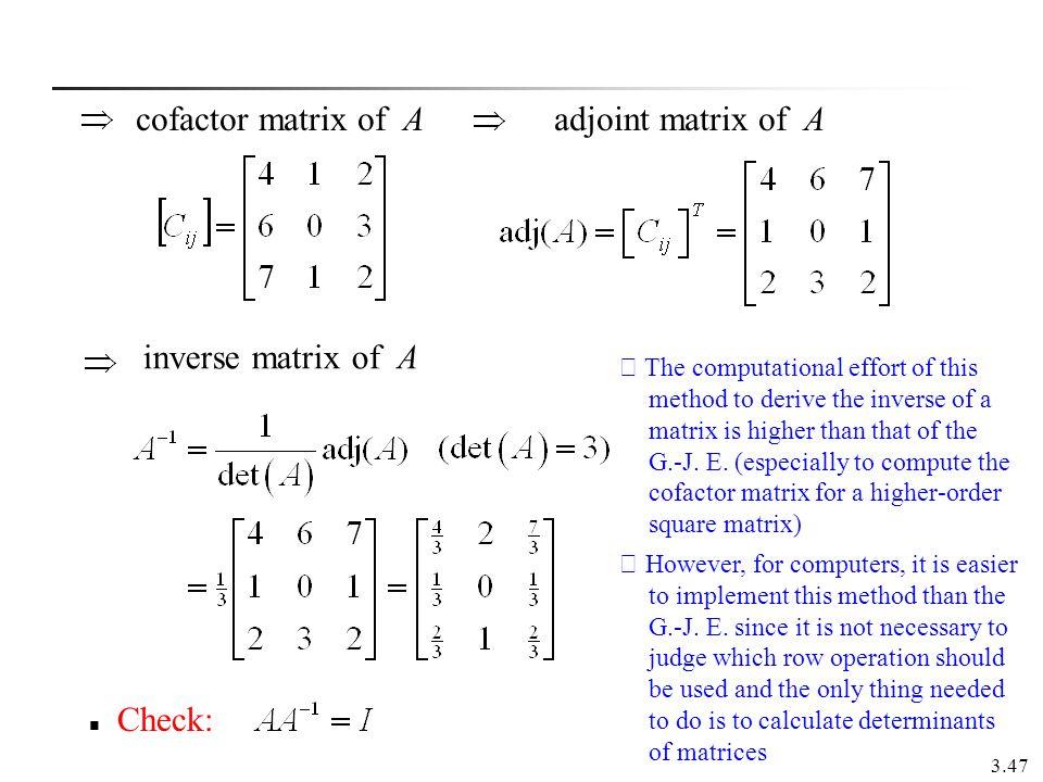 cofactor matrix of A adjoint matrix of A inverse matrix of A Check: