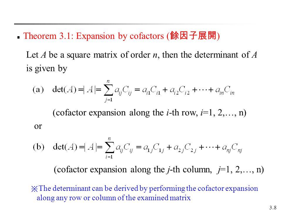 Theorem 3.1: Expansion by cofactors (餘因子展開)