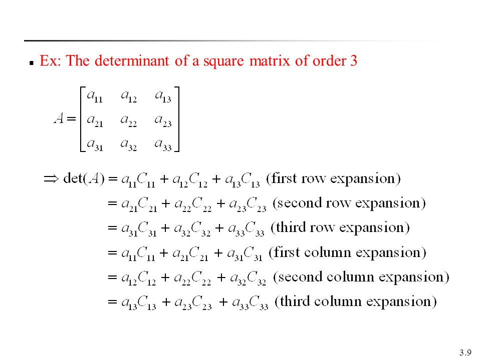 Ex: The determinant of a square matrix of order 3