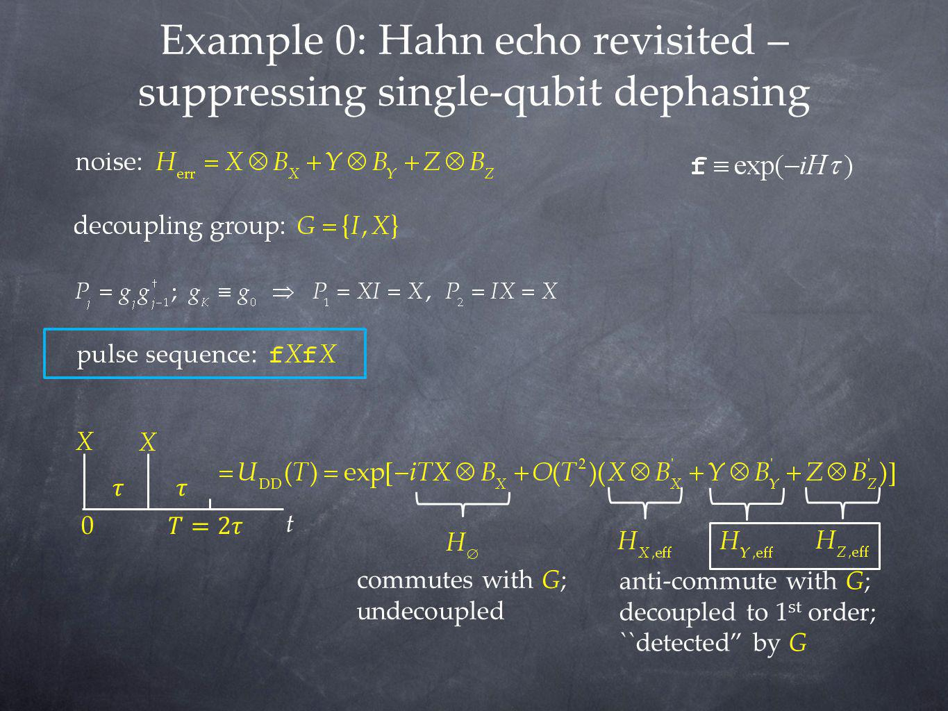 Example 0: Hahn echo revisited – suppressing single-qubit dephasing