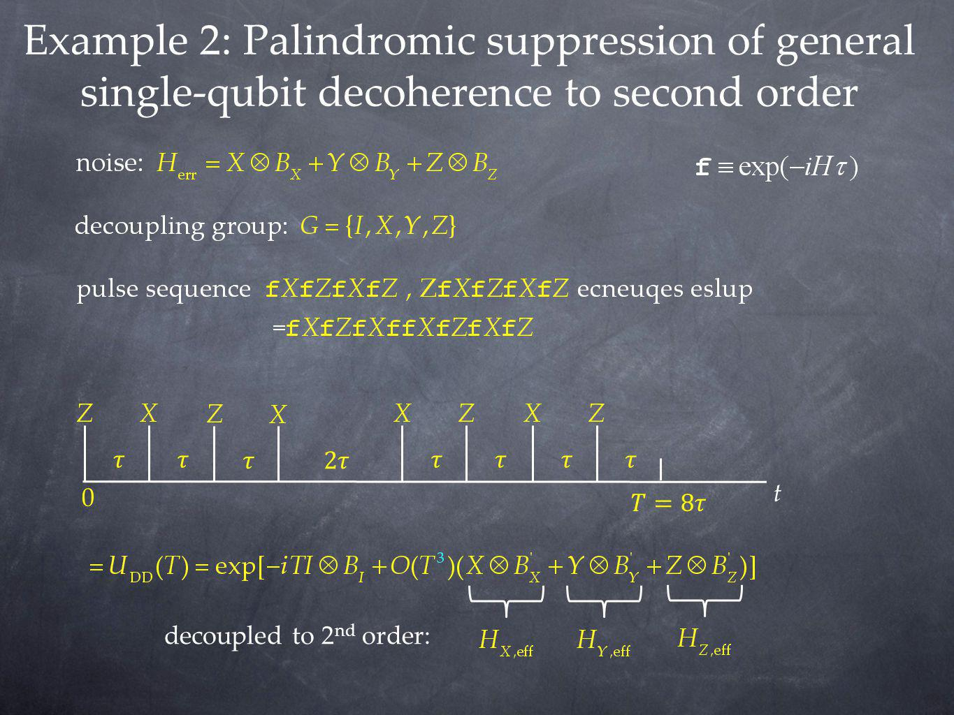 Example 2: Palindromic suppression of general single-qubit decoherence to second order