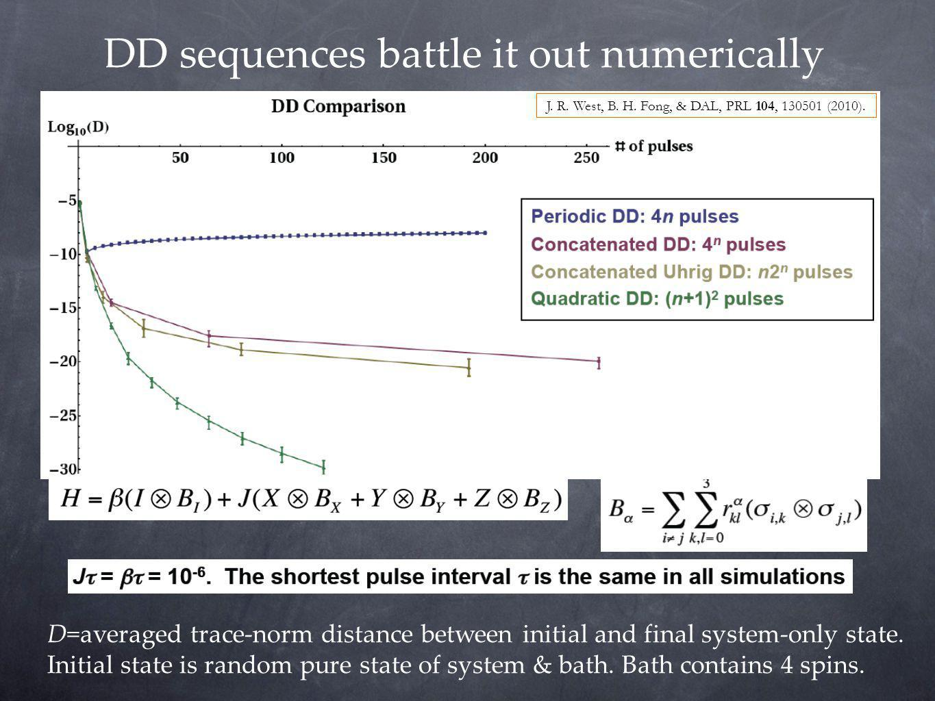 DD sequences battle it out numerically