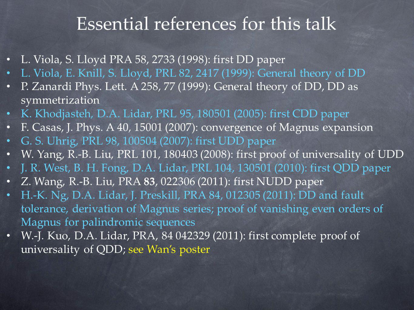Essential references for this talk