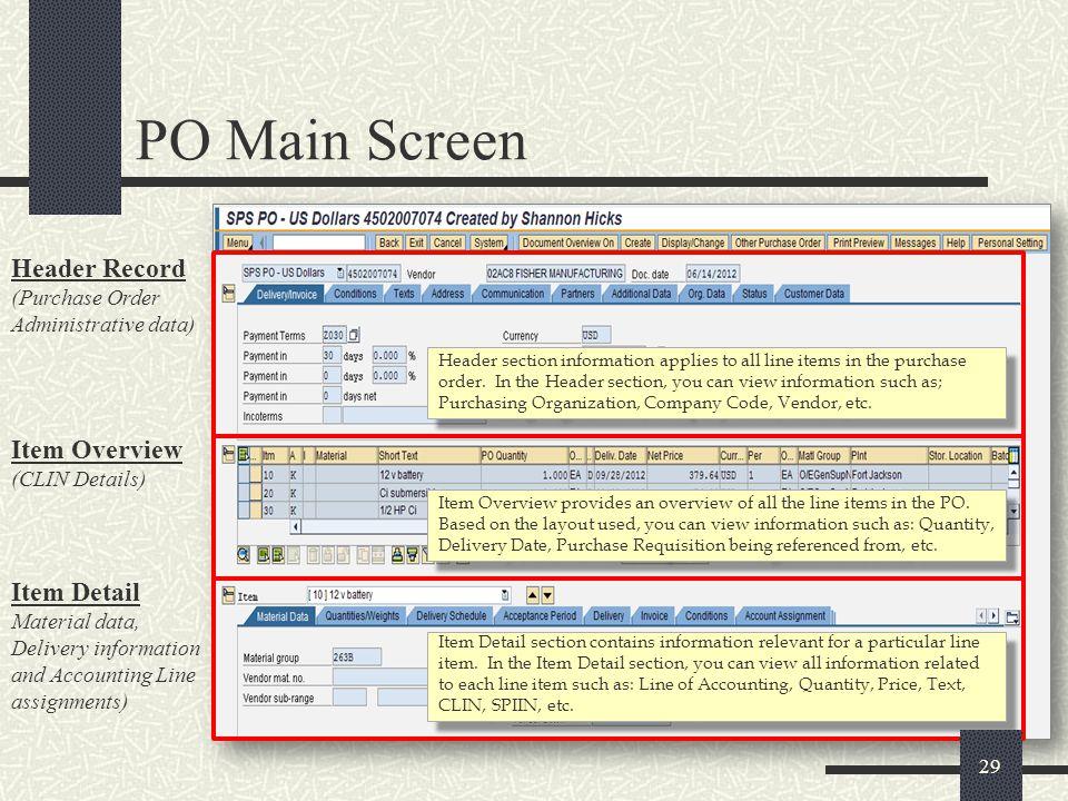 PO Main Screen Header Record (Purchase Order Administrative data)