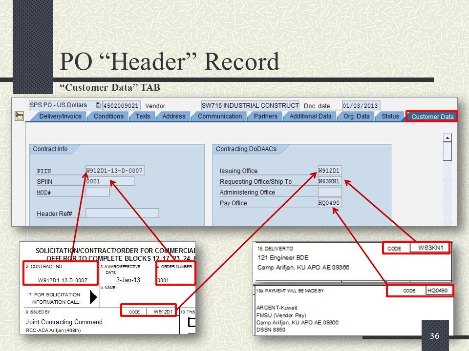 PO Header Record Customer Data TAB
