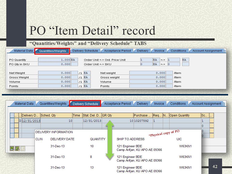 PO Item Detail record