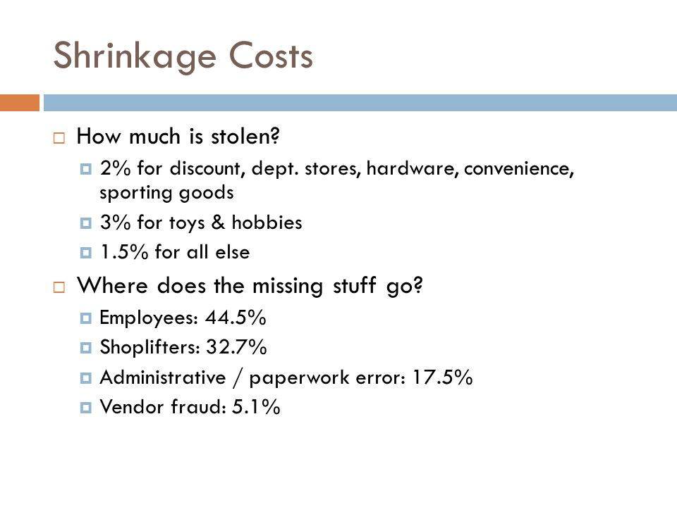Shrinkage Costs How much is stolen Where does the missing stuff go