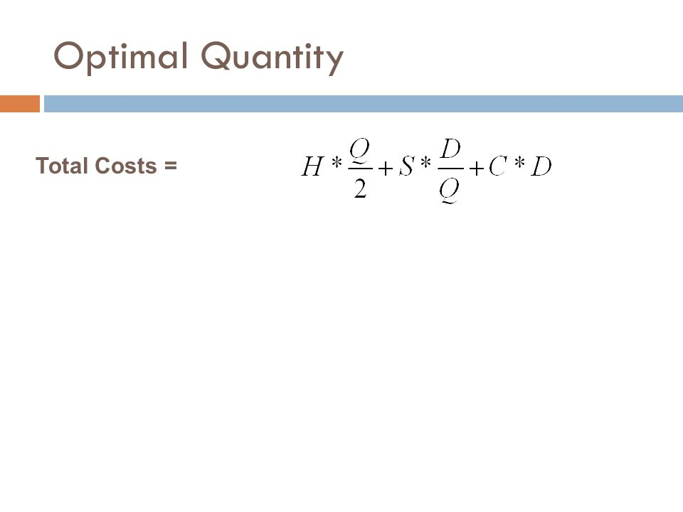 Optimal Quantity Total Costs =