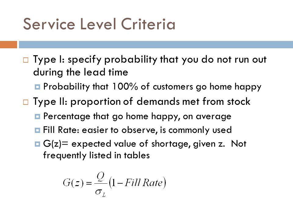 Service Level Criteria