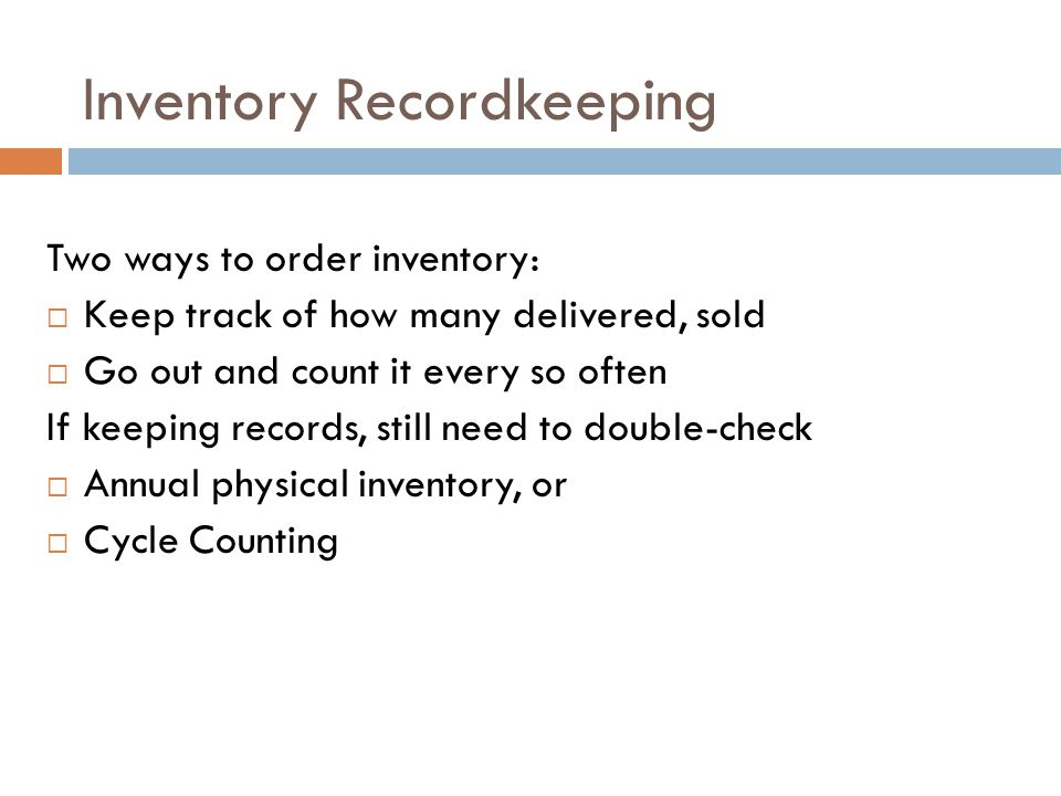 Inventory Recordkeeping