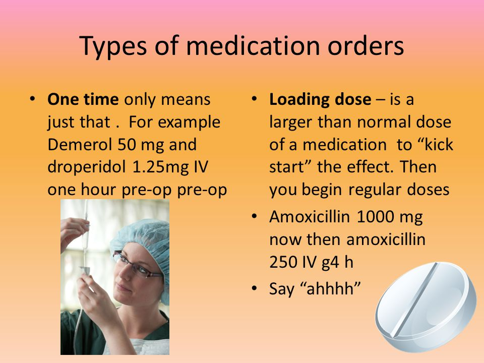 Types of medication orders