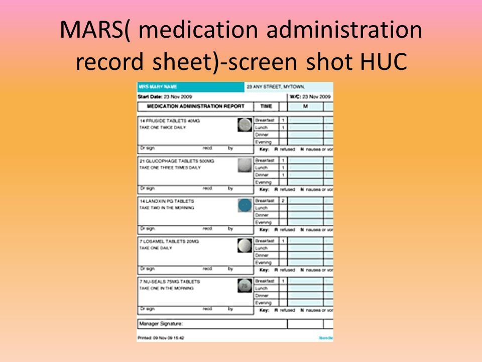 MARS( medication administration record sheet)-screen shot HUC