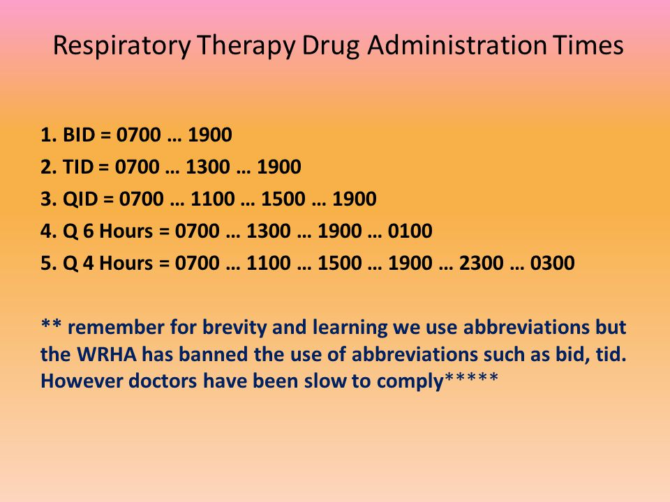 Respiratory Therapy Drug Administration Times