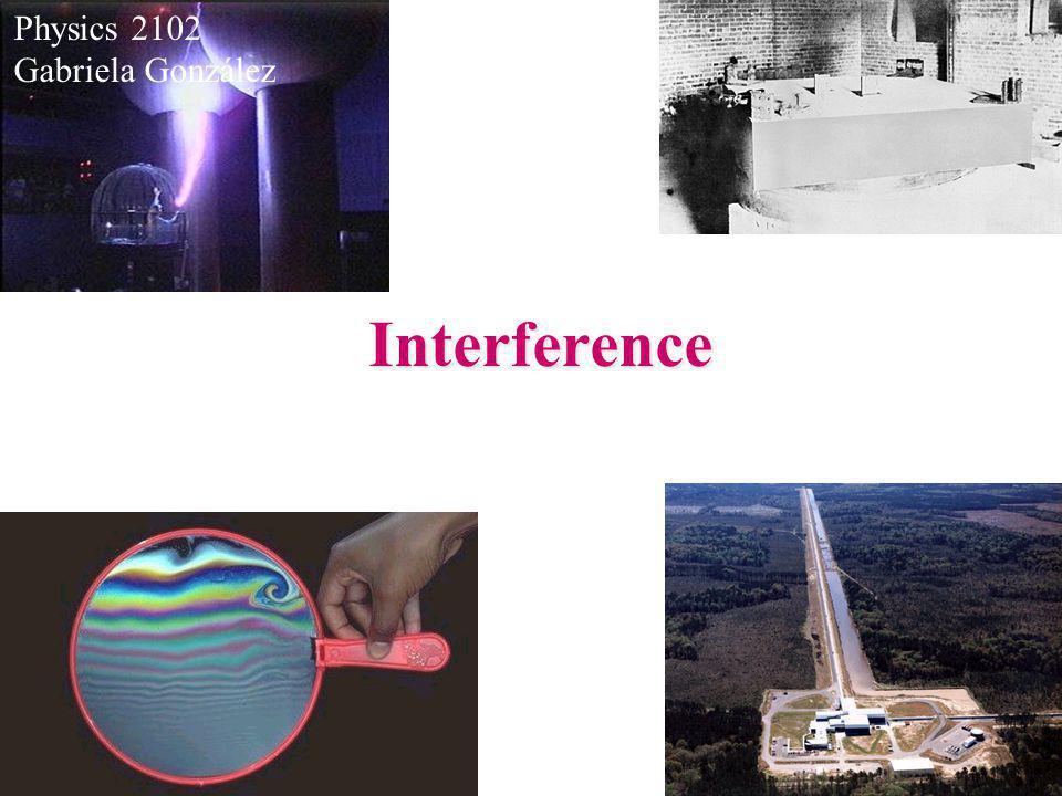 Physics 2102 Gabriela González Interference