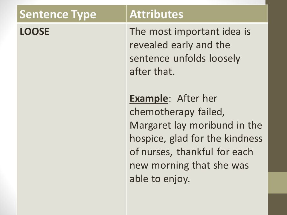 Sentence Type Attributes LOOSE