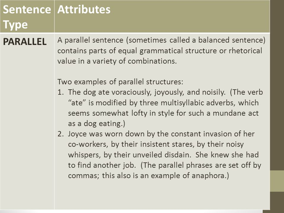 Sentence Type Attributes PARALLEL