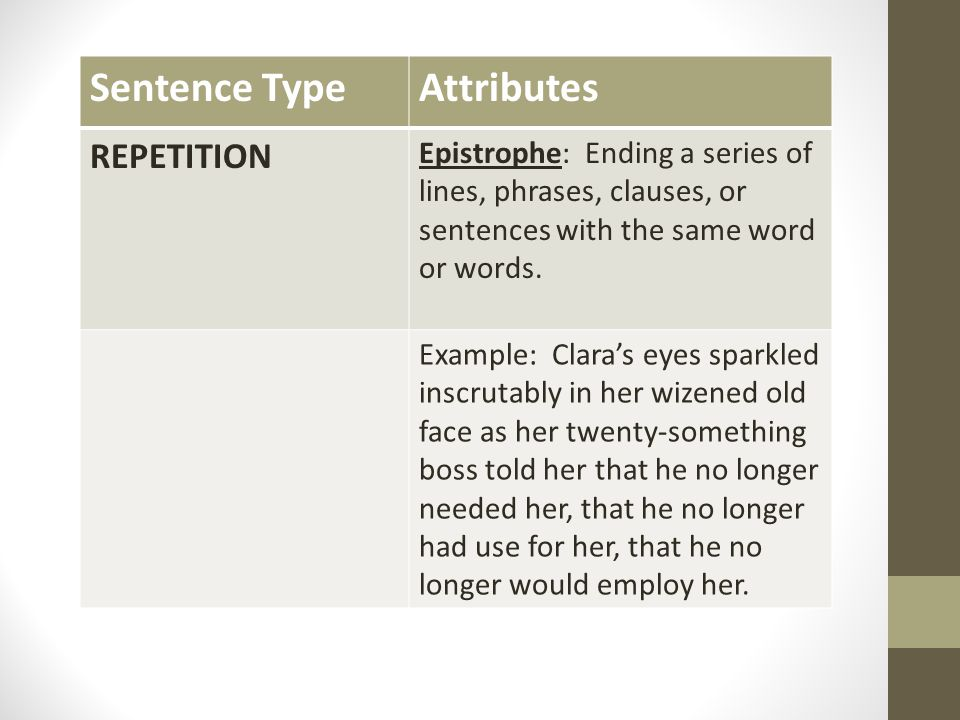 Sentence Type Attributes REPETITION