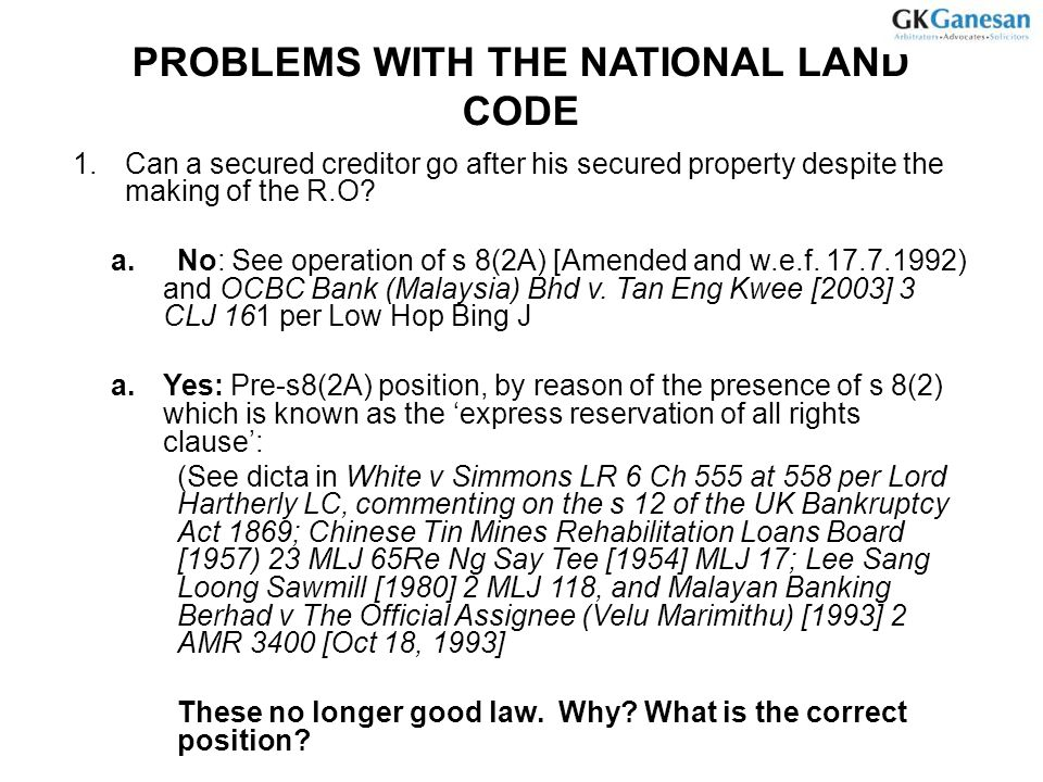 PROBLEMS WITH THE NATIONAL LAND CODE