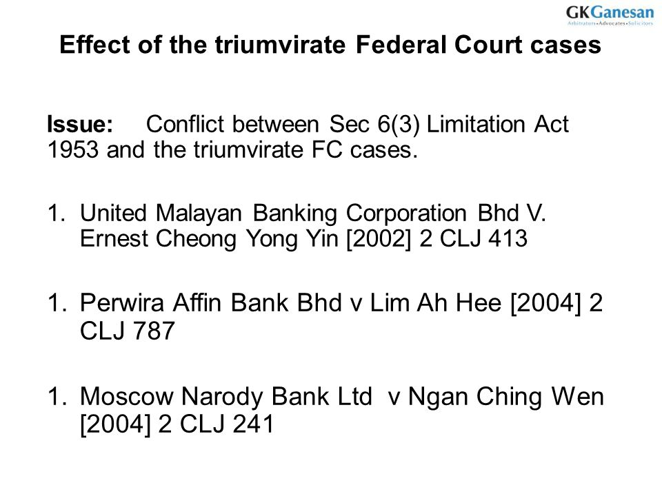 Effect of the triumvirate Federal Court cases