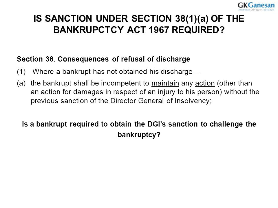 is Sanction under section 38(1)(a) of the Bankrupctcy Act 1967 required