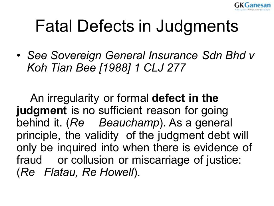 Fatal Defects in Judgments
