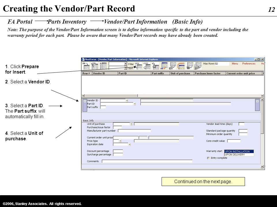 Creating the Vendor/Part Record