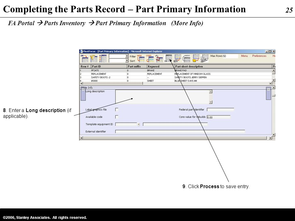 Completing the Parts Record – Part Primary Information