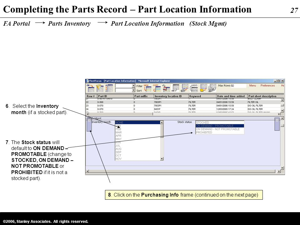 Completing the Parts Record – Part Location Information