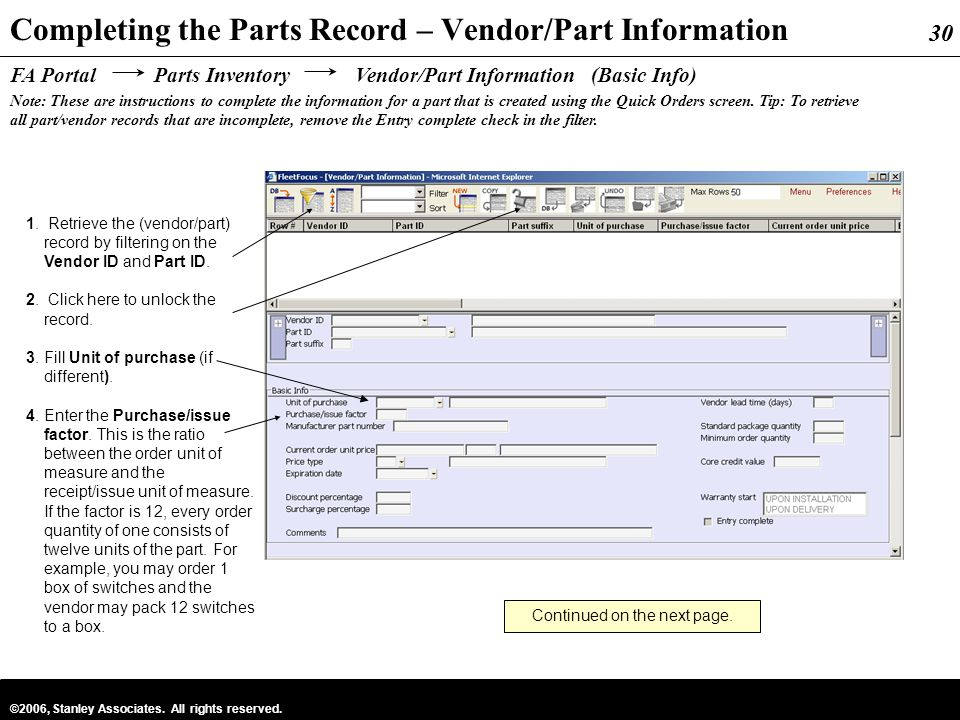 Completing the Parts Record – Vendor/Part Information