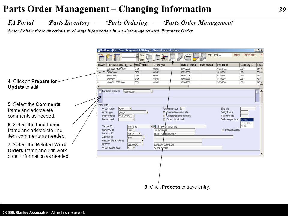 Parts Order Management – Changing Information