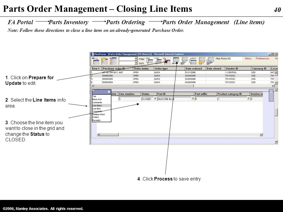 Parts Order Management – Closing Line Items