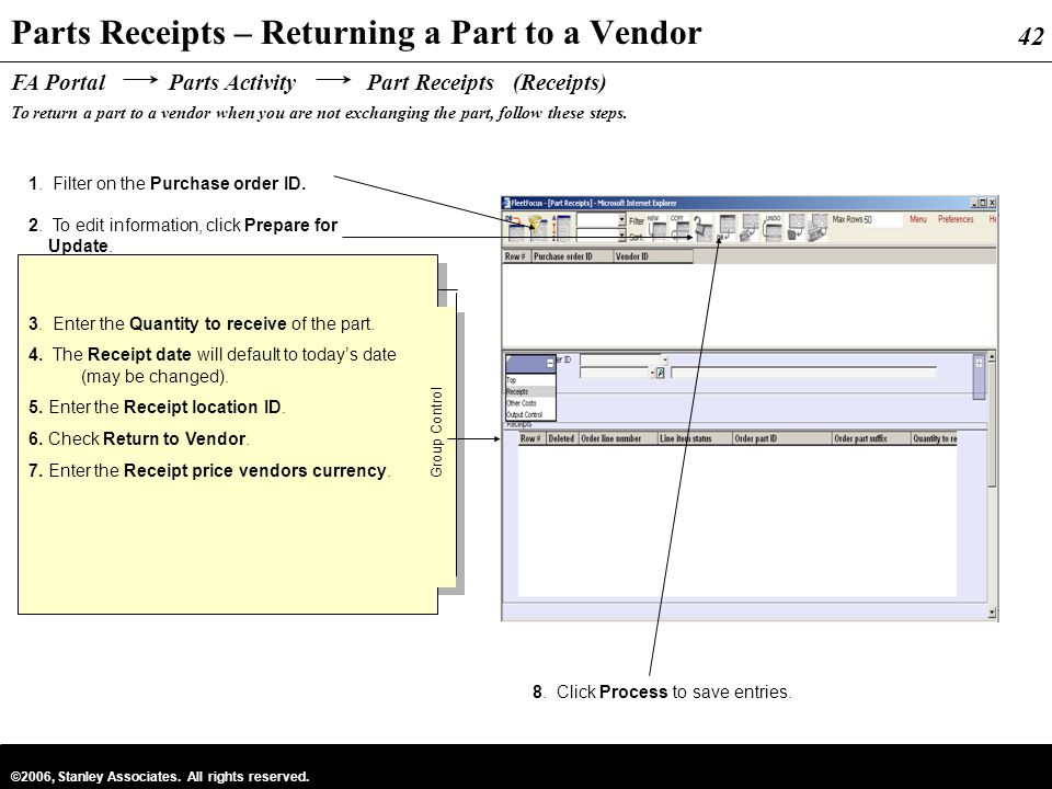 Parts Receipts – Returning a Part to a Vendor