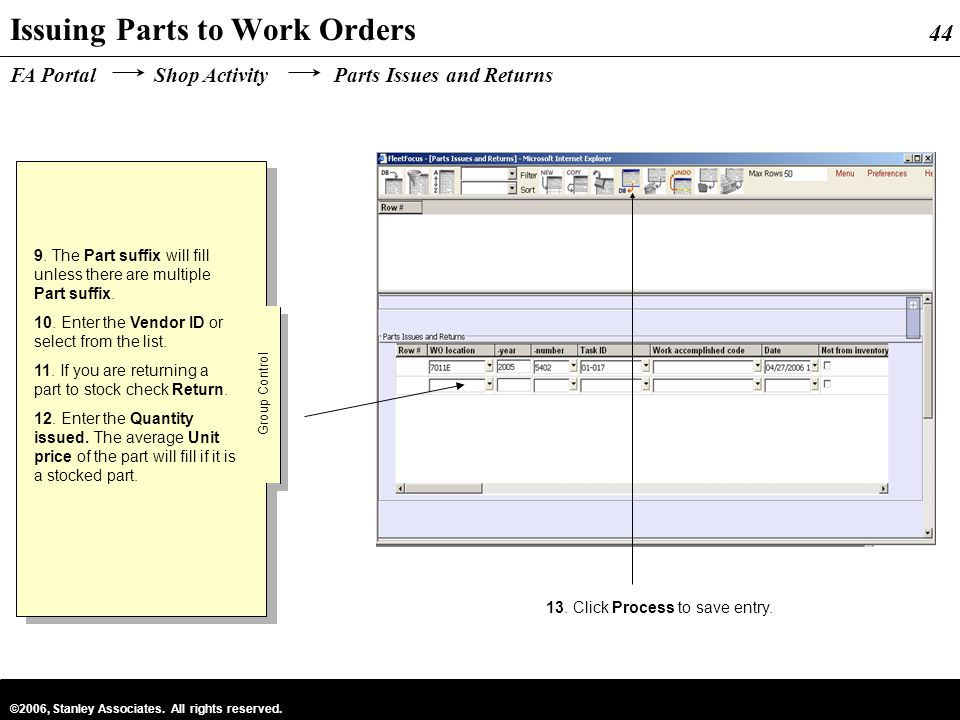 Issuing Parts to Work Orders