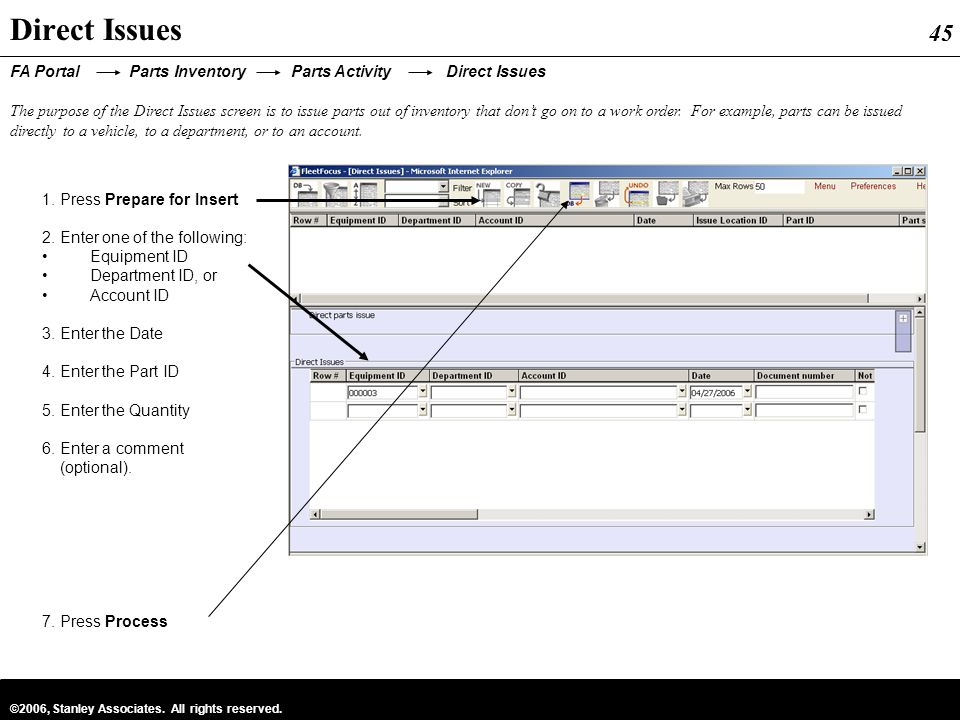 Direct Issues FA Portal Parts Inventory Parts Activity Direct Issues