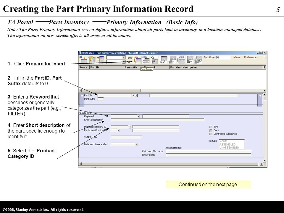 Creating the Part Primary Information Record