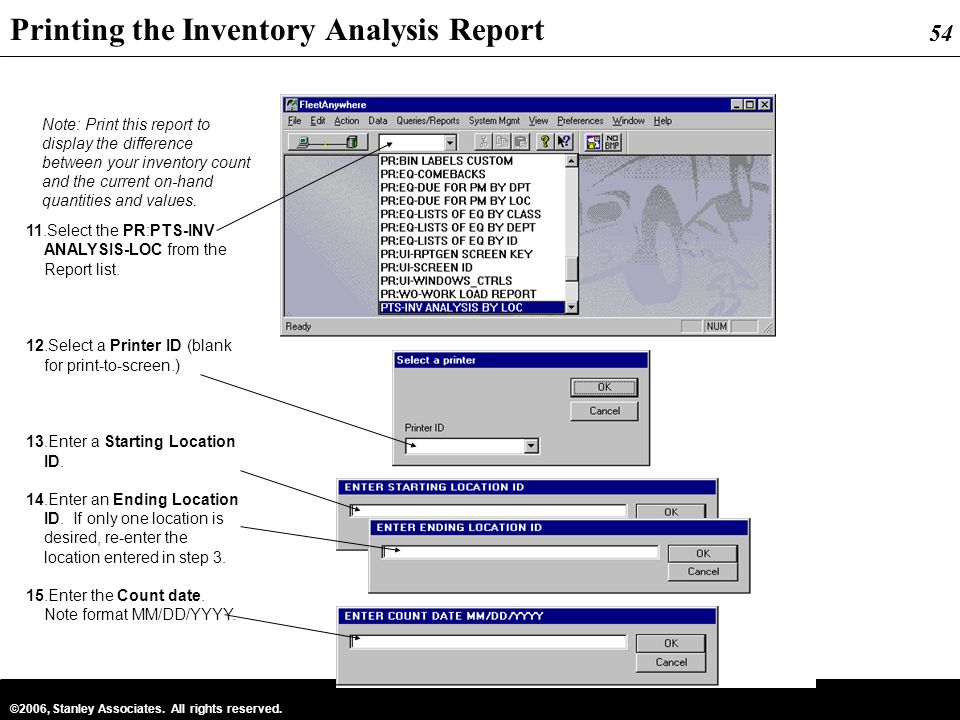 Printing the Inventory Analysis Report