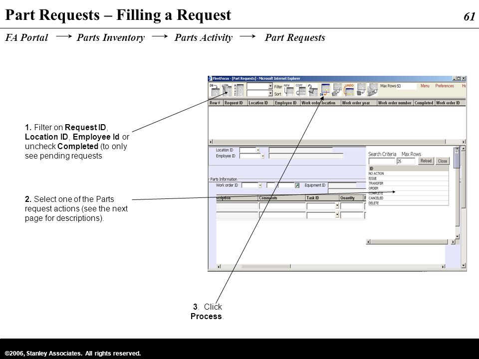 Part Requests – Filling a Request