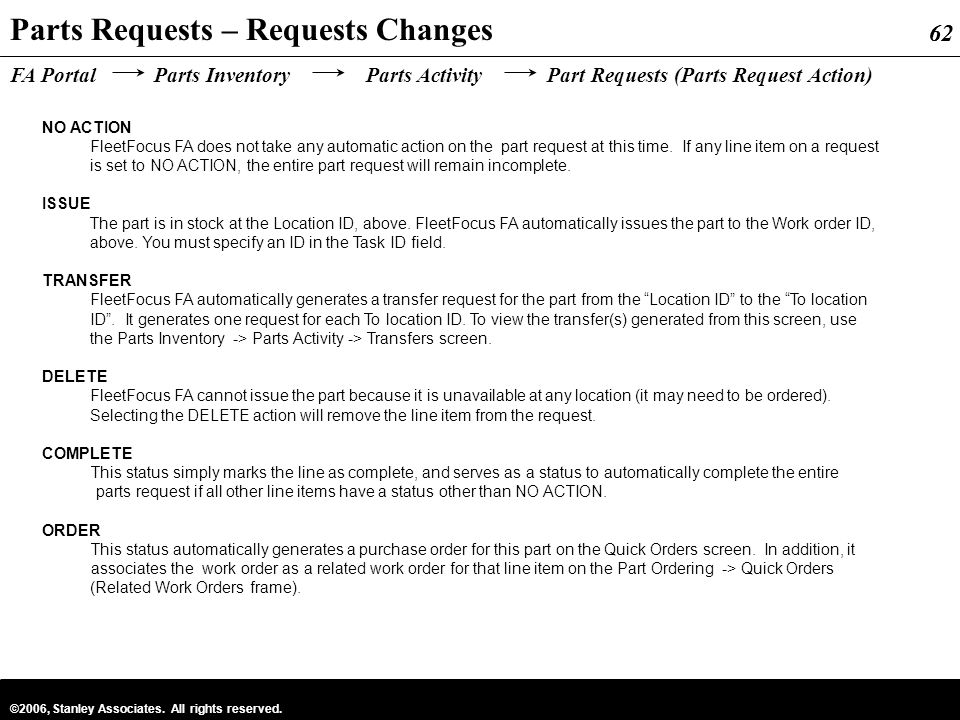 Parts Requests – Requests Changes