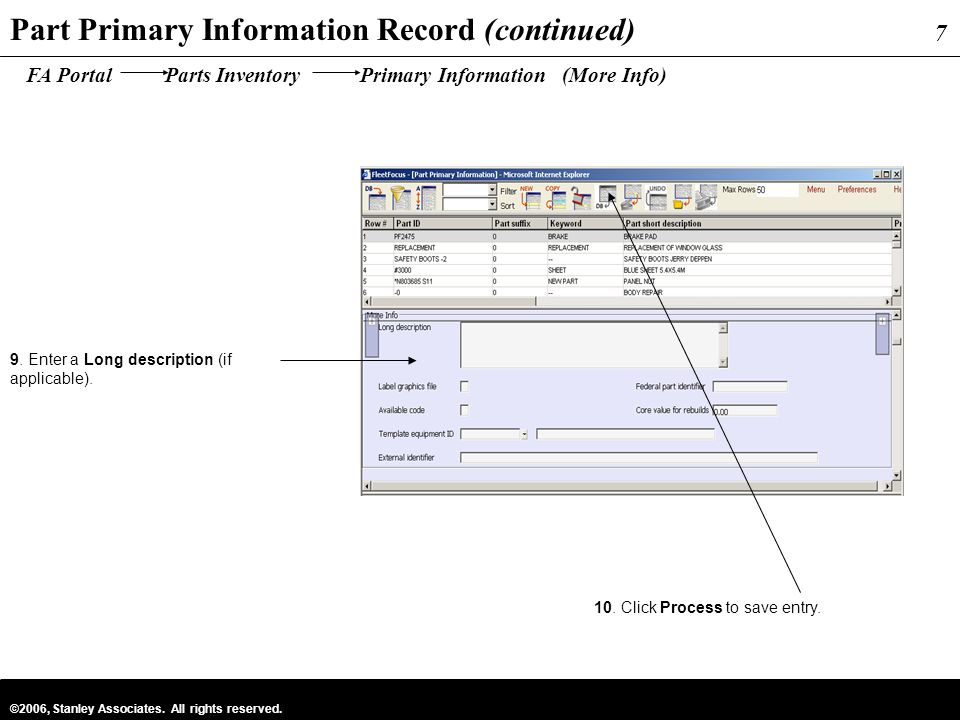 Part Primary Information Record (continued)