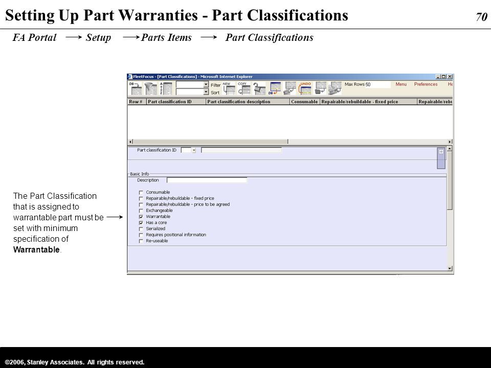 Setting Up Part Warranties - Part Classifications