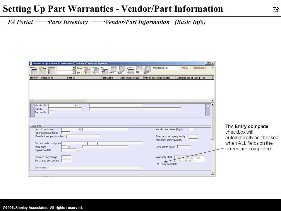 Setting Up Part Warranties - Vendor/Part Information