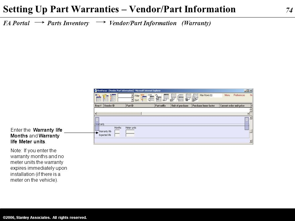 Setting Up Part Warranties – Vendor/Part Information