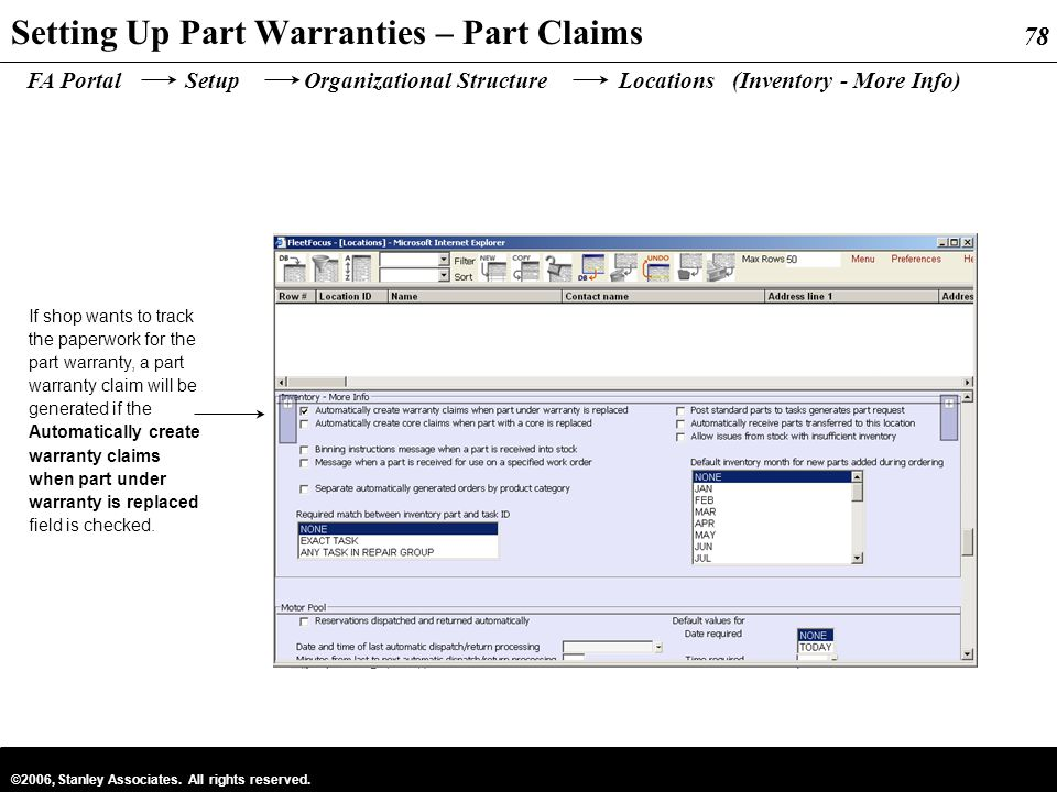 Setting Up Part Warranties – Part Claims