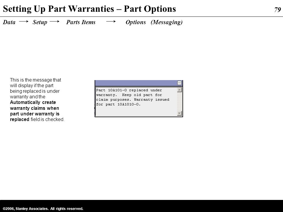 Setting Up Part Warranties – Part Options