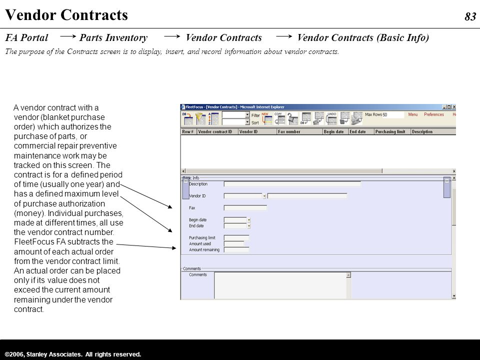 Vendor Contracts FA Portal Parts Inventory Vendor Contracts Vendor Contracts (Basic Info)