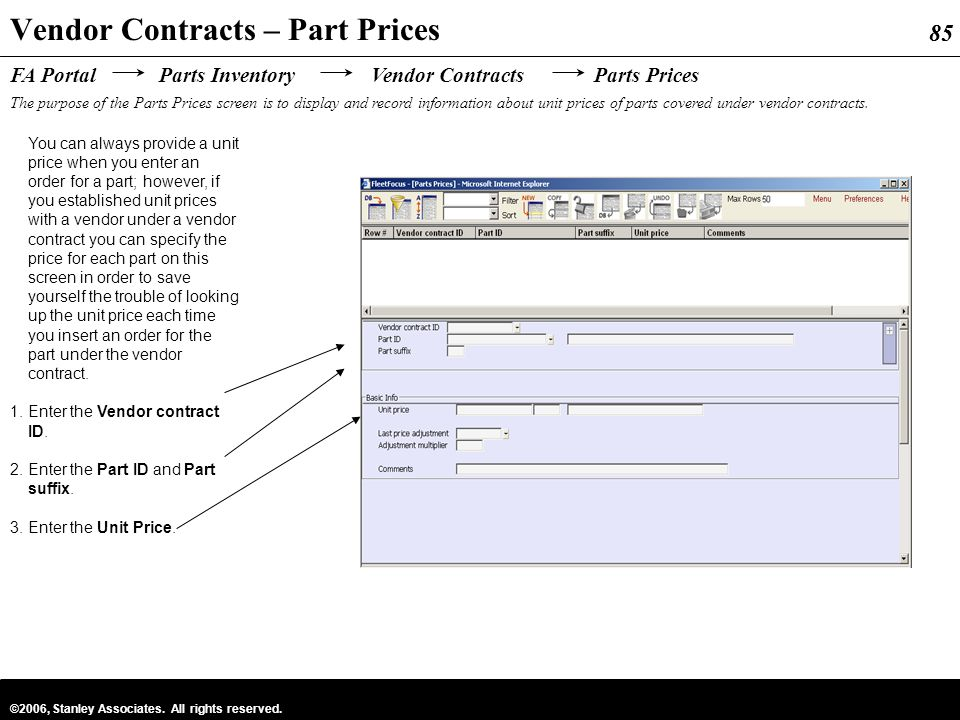 Vendor Contracts – Part Prices