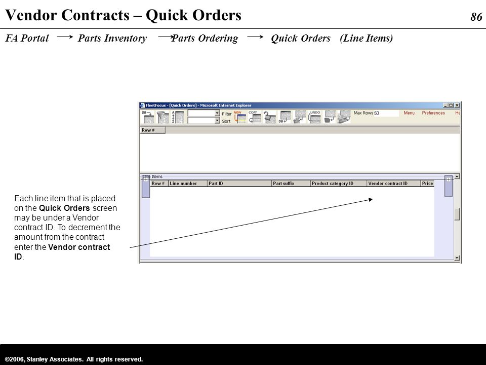 Vendor Contracts – Quick Orders