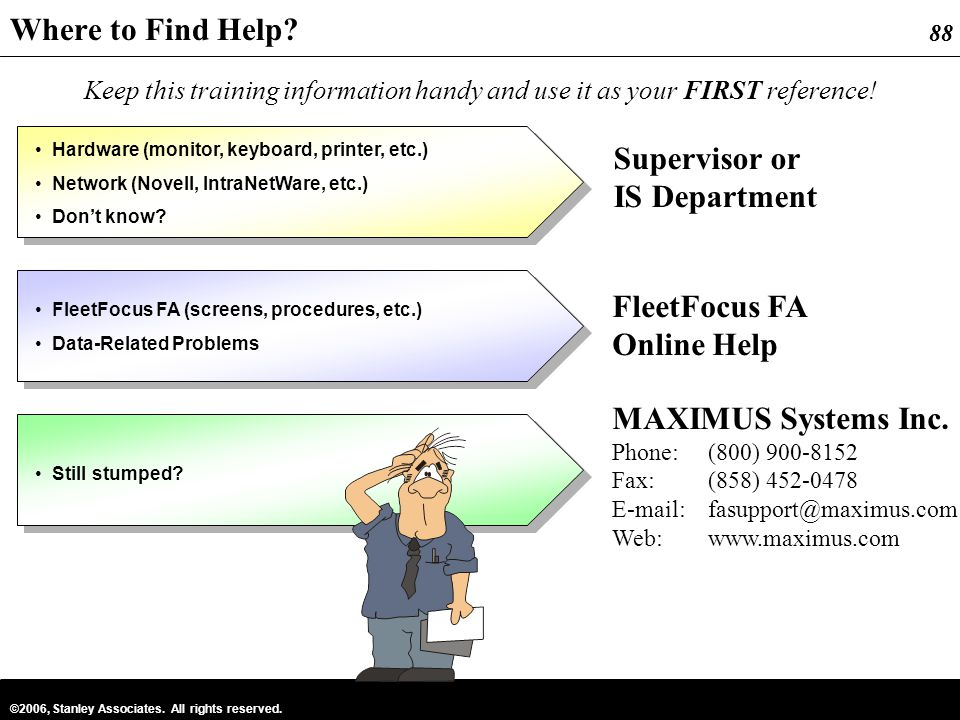 Where to Find Help Supervisor or IS Department FleetFocus FA