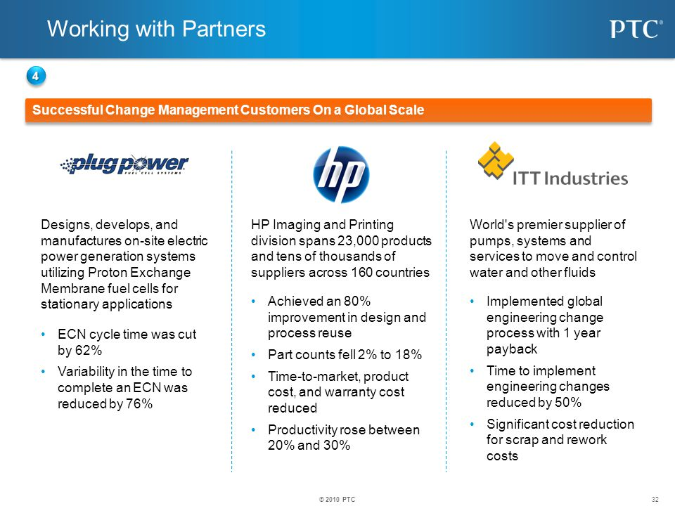 Working with Partners 4. Successful Change Management Customers On a Global Scale.