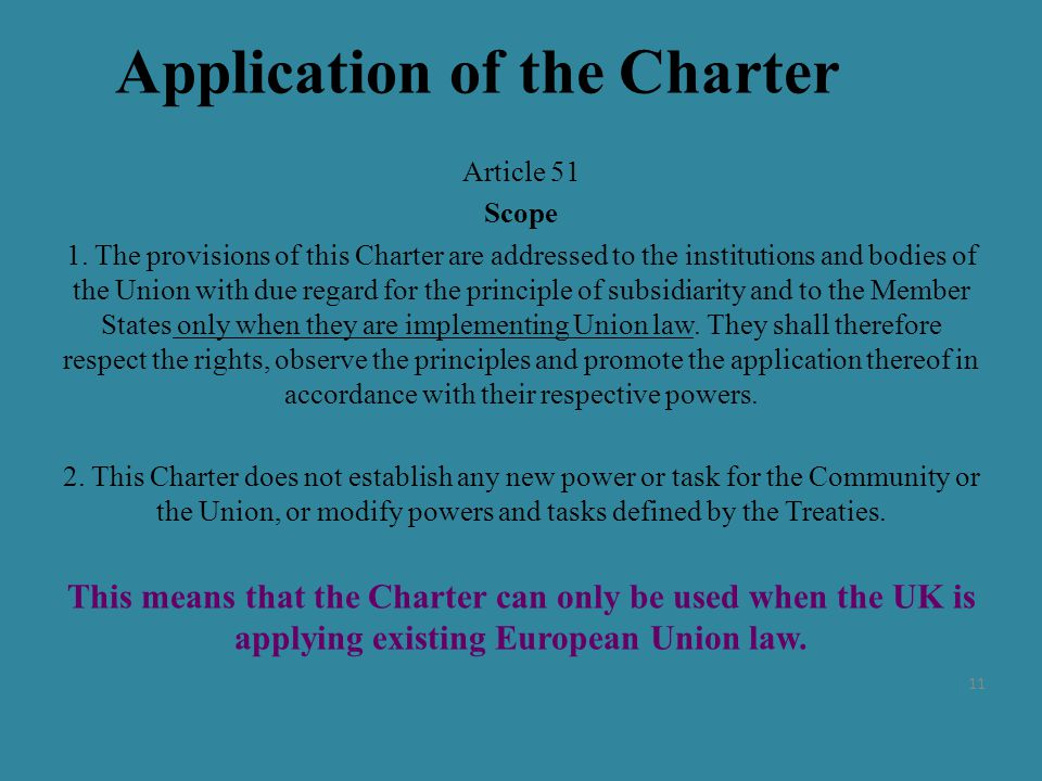 Application of the Charter